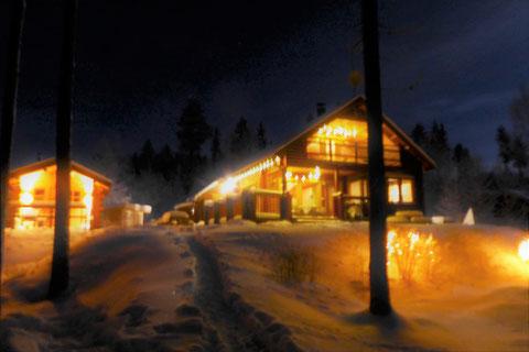 Winterbeleuchtung Blockhaus Sauna Finnland