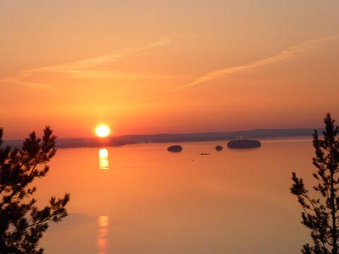 Sonnenuntergang, Päijänne See, Finnland, Abenddämmerung