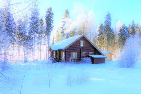 Sunny Mökki Sysmä: Ski-Langlauf und Schneeschuh-Wanderungen in der Umgebung.  Relaxen in Ihrem wohlig warmen Mökki in polaren Gefilden.