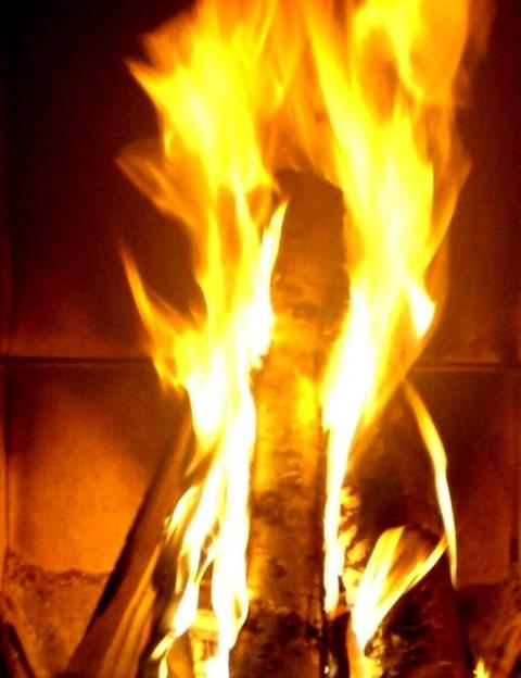 Feuerschein in Sauna