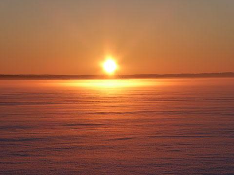 Sonnenuntergang Winter See Finnland