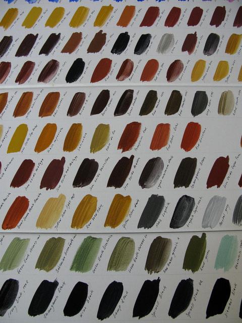 Farbaufstriche verschiedener Pigmente