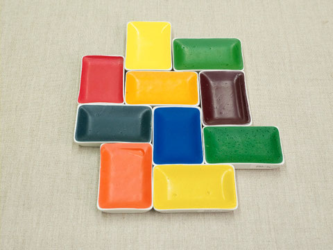 Blockx water colours in porcelain