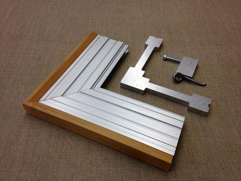 Aluminiumrahmen, Profil 25mm, Winkel und Feder