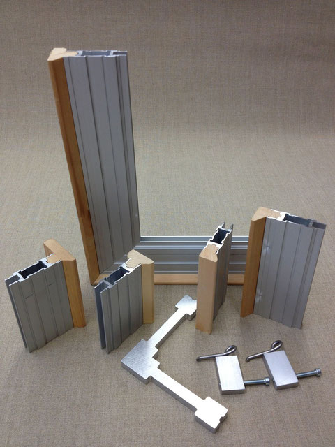 Aluminium stretchers, profiles of 25, 35, 40 and 60mm, angle and springs
