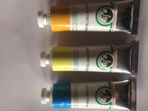 Oudt Hollandse Ölfarbe, Neapelgelb echt (Bleiantimonat), hell und mittel