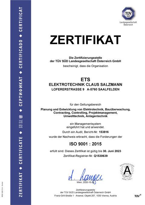 ISO Zertifikat des Büro ETS