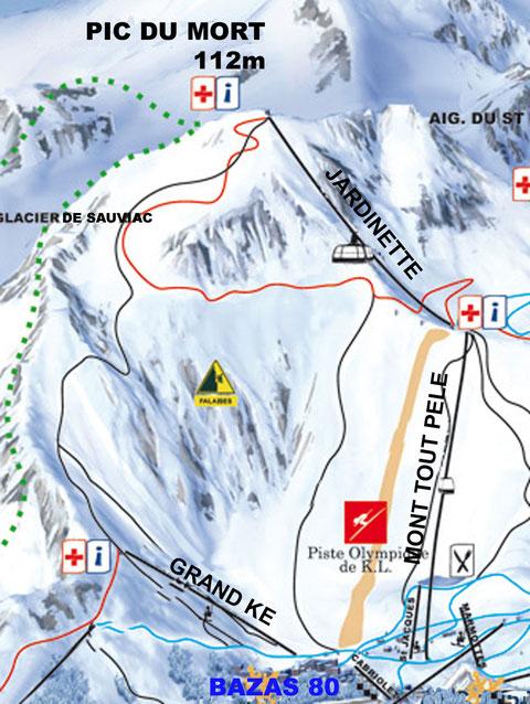2012: Station de Bazas, altitude 80 m, plan des remontées non mécaniques....??!