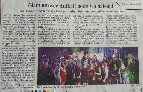 Bericht Schwäbische Zeitung vom 14.03.2018