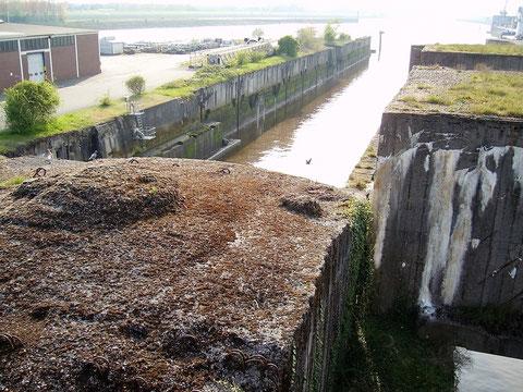 Auf dem Bunker ist hier der Weserzugang zu sehen, ein großteil des Bunkerdaches wird als Autoparkplatz genutzt.