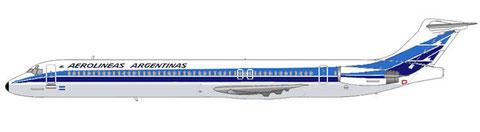 Aerolineas Argentinas MD-88, Farbschema, als dieses Muster eingeführt wurde/Courtesy: MD-80.net