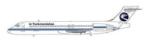 Turkmenistan Airlines Boeing 717 in klassischen Farben/Courtesy: MD-80.net