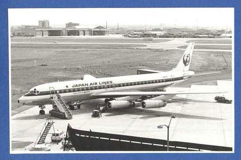 JAL waren ein sehr wichtiger und langjähriger Nutzer der Douglas DC-8-62/Postkarte
