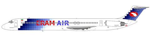 MD-82 mit Hybridbemalung - deutlich ist die Bemalung von Spirit Airlines zu sehen/Courtesy and Copyright: md80design