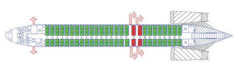 Kabinenlayout der OY-JRU mit 135 Sitzplätzen/Courtesy: DAT