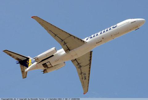 """Die MD-87 """"SE-DMK"""" im Steigflug/Courtesy: Alexander Portas"""