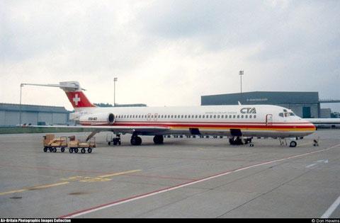 Die MD-87 HB-IUA, Ende September 1989/Courtesy: Don Hewins