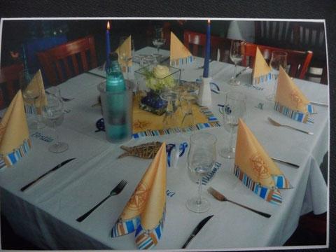 Tischdekoration für eine Konfirmation in Pinneberg