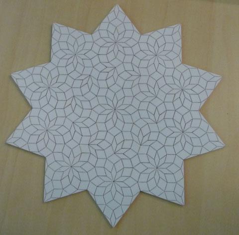 Das Sternenmuster basiert wieder auf das Penrose Muster, könnte man also als La Passacaglia nähen.