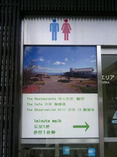別府湾SAのトイレの表示板 日本語がない!