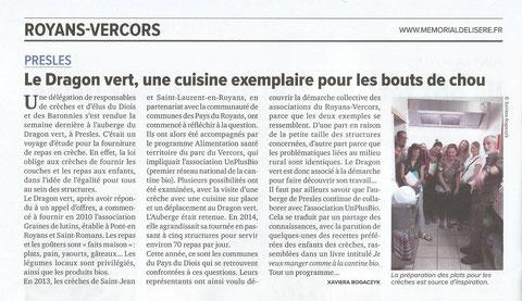 Article du Mémorial de l'Isère 5 octobre 2018