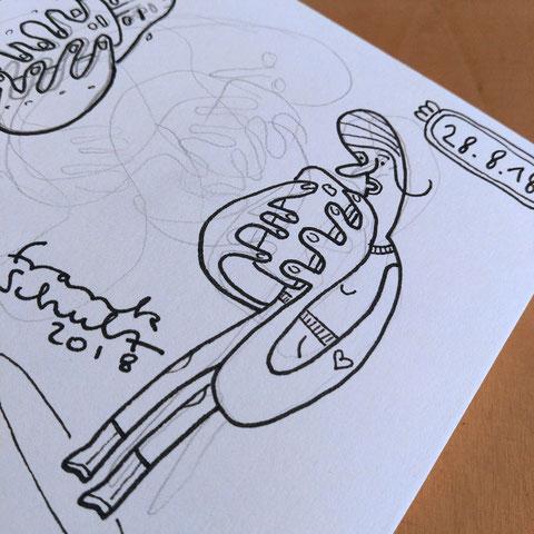 Blick in mein Skizzenbuch - Illustration Zombie und Handysucht, Zeichnung mit Tusche und digitaler Farbe von Frank Schulz Art, zeigt eine Frau als Digitalzombie die ihr Smartphone checkt
