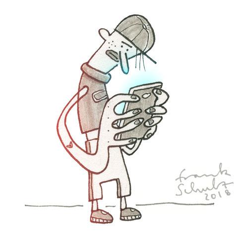 Illustration Zombie und Handysucht, Zeichnung mit Tusche und digitaler Farbe von Frank Schulz Art, zeigt einen Jungen mit Mütze als Digitalzombie der sein Smartphone checkt