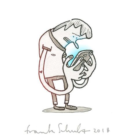 Illustration Zombie und Handysucht, Zeichnung mit Tusche und digitaler Farbe von Frank Schulz Art, zeigt einen Jungen als Digitalzombie der sein Smartphone checkt