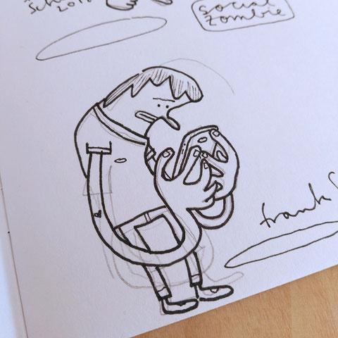 Blick in mein Skizzenbuch - Illustration Zombie und Handysucht, Zeichnung mit Tusche und digitaler Farbe von Frank Schulz Art, zeigt einen Jungen als Digitalzombie der sein Smartphone checkt