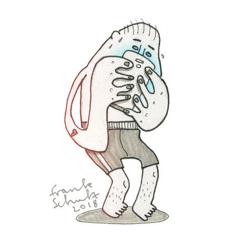 Illustration Stress und Handysucht, Zeichnung mit Tusche und digitaler Farbe von Frank Schulz Art, zeigt einen Jungen der schwitzt als Digitalzombie der sein Smartphone checkt