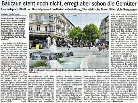 Bauzaun steht noch nicht, erregt aber schon die Gemüter. Leopoldsplatz: Stadt und Handel planen künstlerische Gestaltung, Kurstädtische Maler fühlen sich übergangen.