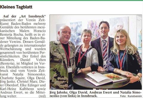 Presseartikel über die Teilnahme des ZeitKunst Vereins bei der Art-Innsbruck 2016