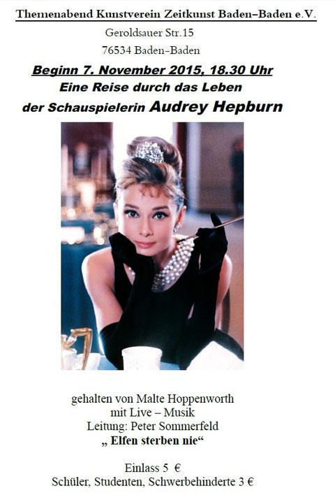 Themenabend - eine Reise durch das Leben  der Schauspielerin Audrey Hepburn