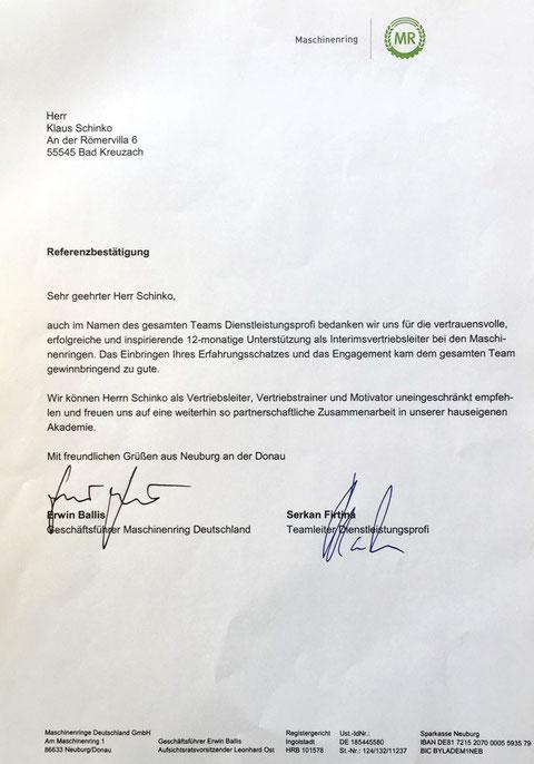 Referenz MRD Deutschland Vertriebsleiter Interim im Bereich Dienstleistungen 2017-2018