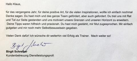 Persönliches Feedback von Birgit (Neukunden-Akquise) meiner Interimsführung im Vertrieb der MRD GmbH, Neuburg