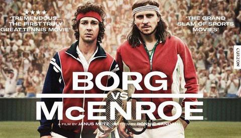 Shia LaBeouf als John McEnroe (links) und Sverrir Guðnason als sein Rivale Björn Borg auf dem Rasen von Wimbledon.