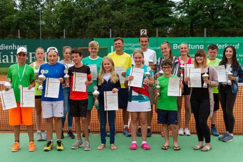 Tennis-Stadtmeister 2017 und Platzierte der U12 bis U18 Konkurrenzen.