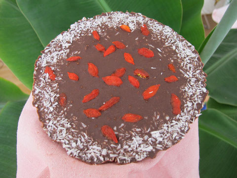 homemade raw chocolate with Goji berries and coconut