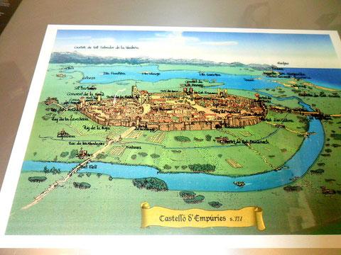 Bildkarte im Fremdenverkehrsbüro Castello d´Empuries
