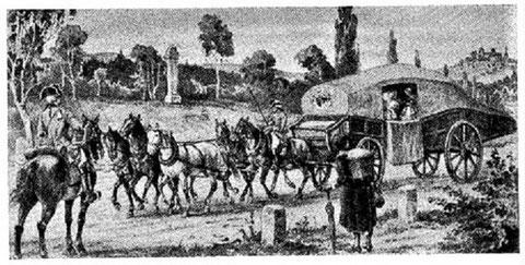 Reisewagen zu Beginn des 18. Jahrhunderts