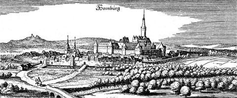 Hornburg zur Zeit des 30-jährigen Krieges (1641) - Stich von Matthäus Merian. In der Mitte die große damalige Burganlage vor ihrer Schleifung