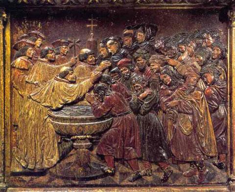 Taufe von Morisken Altarretabel Felipe Vigarny