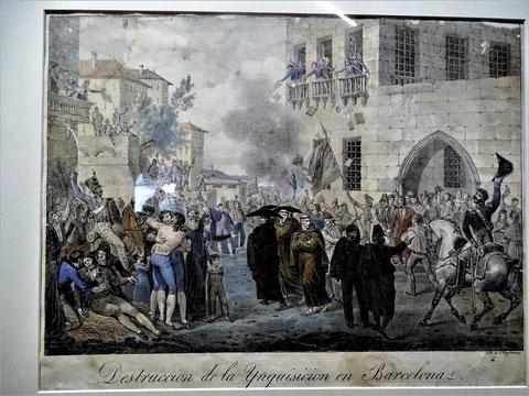 """Abschaffung der Inquisition in Barcelona 1813. Hippolyte Lecomte 1820 (in der Ausstellung """"Imatges per creure"""")"""