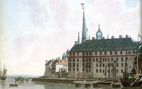 Düsseldorfer Schloss von der Rheinseite her - handkolorierter Stich nach L. Janscha, 1798