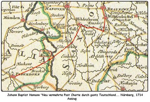 Hier ist die alte Postroute von Halberstadt nach Hildeheim, die Karl fuhr, eingezeichnet -  wikimedia nach dem Urheber: triloba