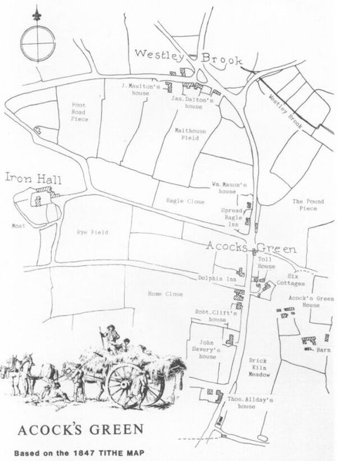 Map of Acocks Green based on the 1847 Tithe Map