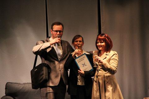 Theater a.d. Volme, Hagen 2014: Stefan Peters, Ariane Raspe, Carola Schmidt. Foto: Birgit Ebbert