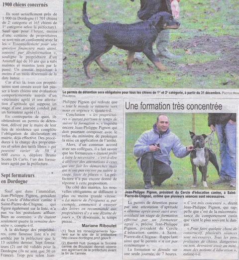 Reportage Dordogne Libre 12/2009