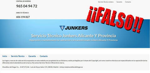Empresa pirata Junkers Munditec del Hogar S.L
