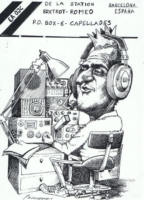 Esta caricatura junto con una QSL, mia se la mandaba a mis QSO s nuevos.